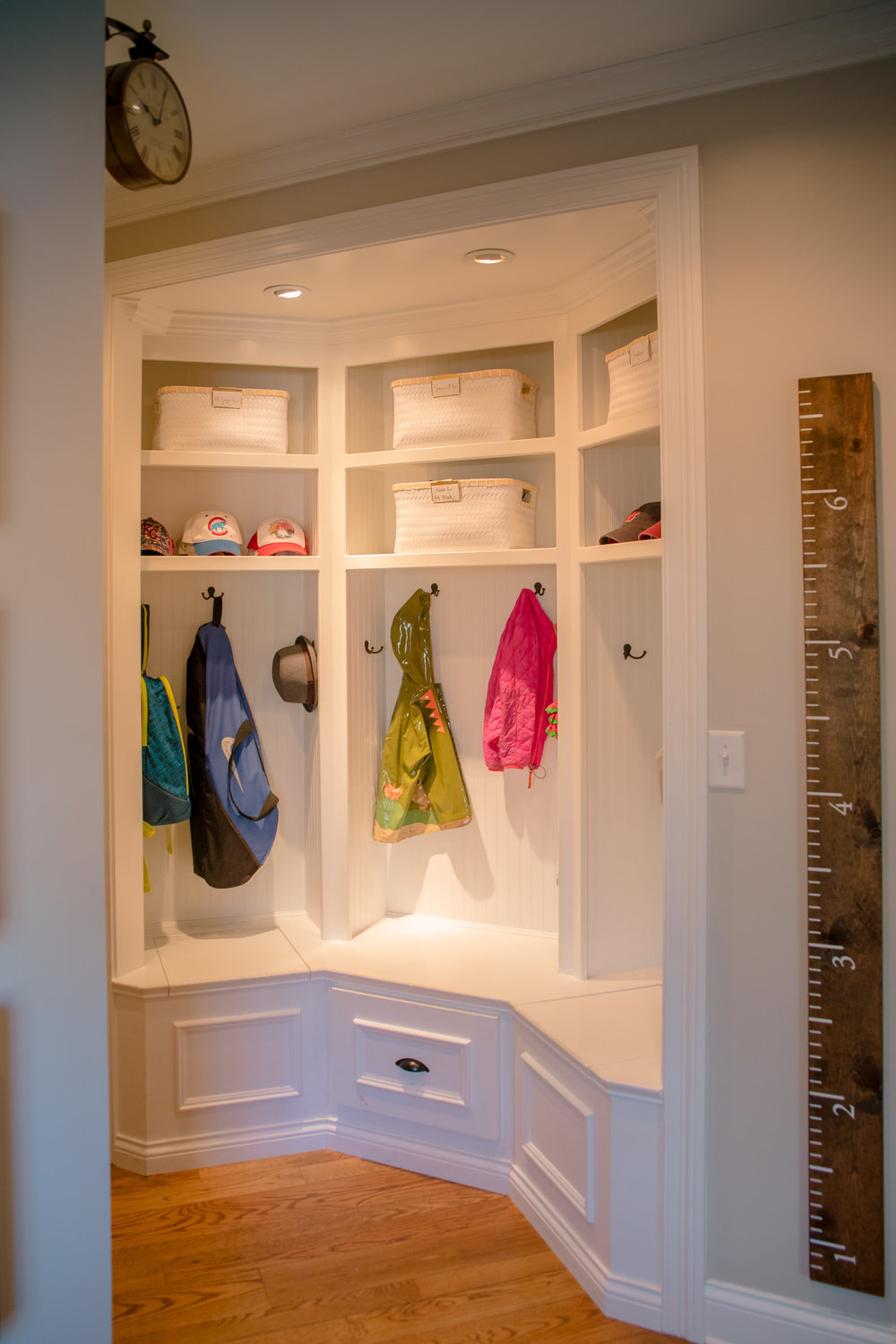An organized mudroom helps get everyone out the door a little quicker in the morning.