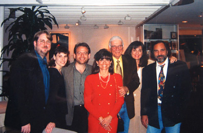 With Richard Kraft, Marc Shaiman, Carole and Jerry Goldsmith, and Bobbi and Basil Poledouris