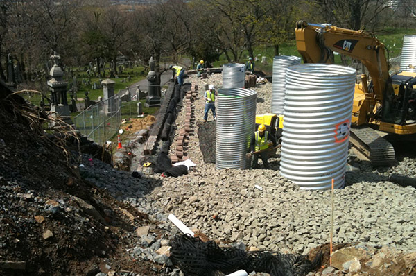 Installation of Modular Block Retaining Wall in North Bergen, NJ