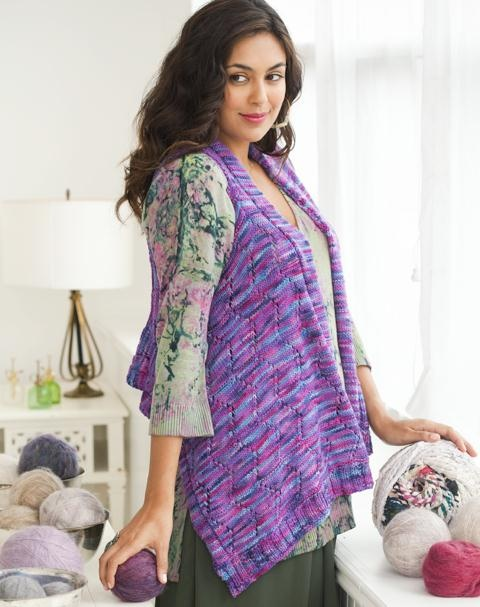 Holiday Issue of Knit Simple 2011 --features a Lace Vest (#1) designed by Karen Garlinghouse, knit in Kersti, photo by Rose Callahan