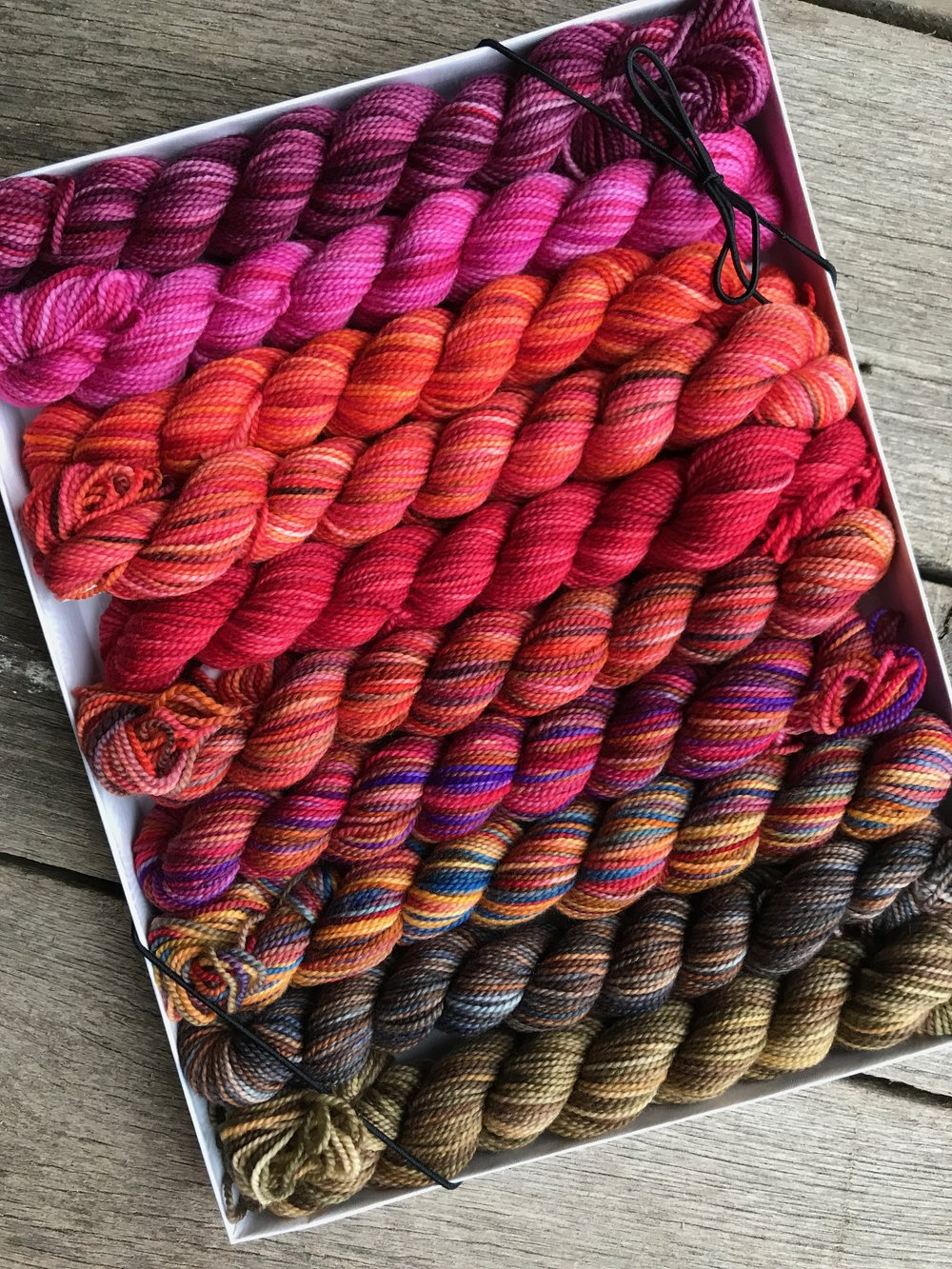 Pencil Box  - Specially curated 12 Demi KPPPM skeins (25g) pencil pack. A wonderful colour starter pack or gift for the connoisseur of KOIGU KPPPM fine yarns. 5 colour assortments to choose from.