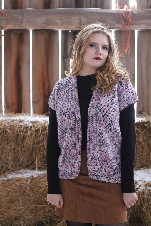 Lahini Cardigan -By: Jessica Carey - Crocheted in Koigu Chelsea8 skeins of C720
