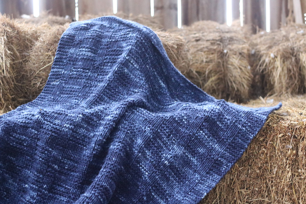 Textured Knit Blanket Throw -  By: Alison Abbey - Knit in Koigu Othello 8 skeins of O2170