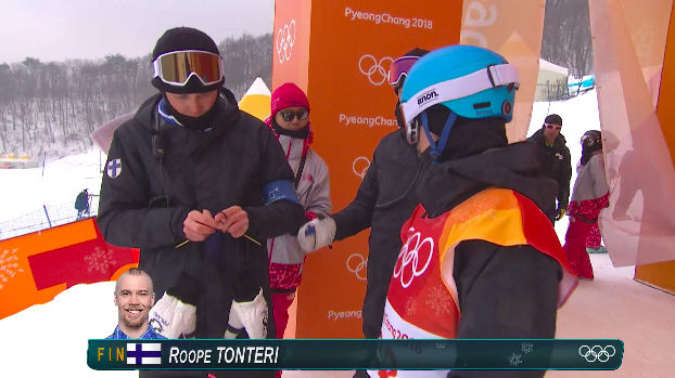 Antti Koskinen has been breaking the internet this weekend as the Finnish Olympic snowboarding coach who knits at the top of the hill!