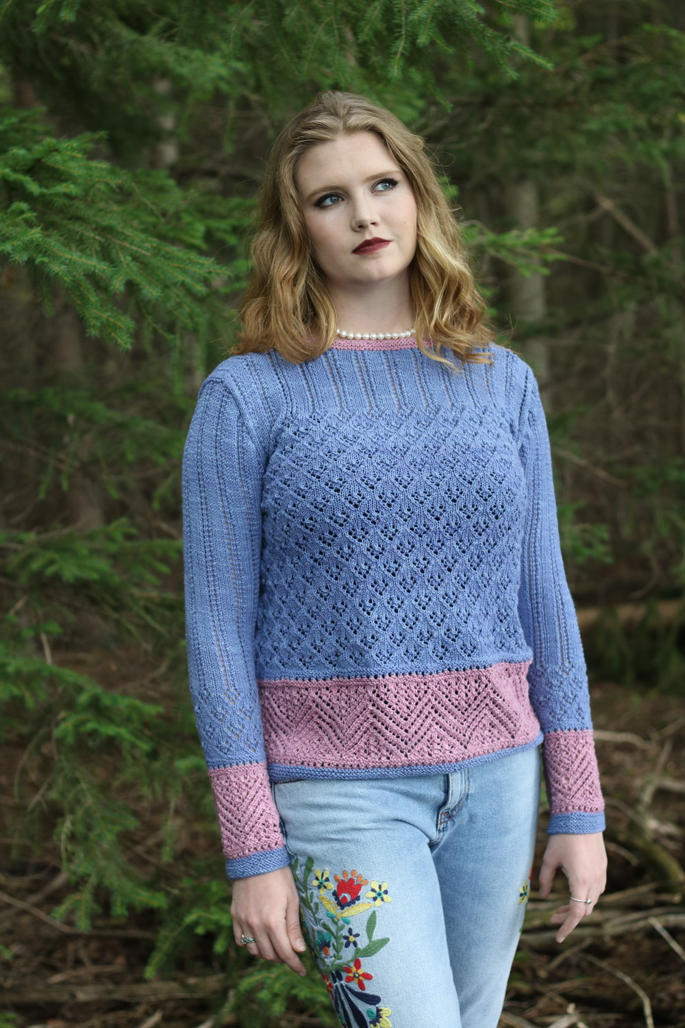 Lace Pullover with Zig Zag