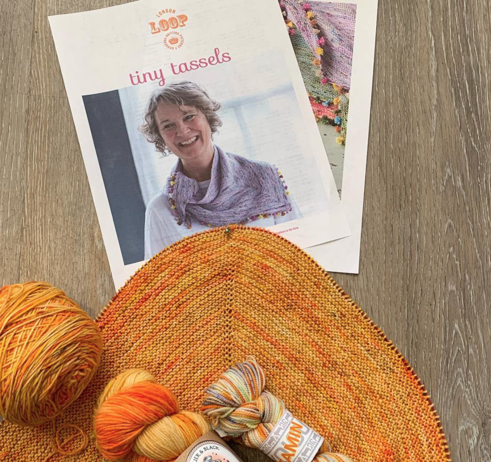 Cast on Yarn Studio - Using last months colour Vitamin D, for Loop London Tiny Tassel shawl.