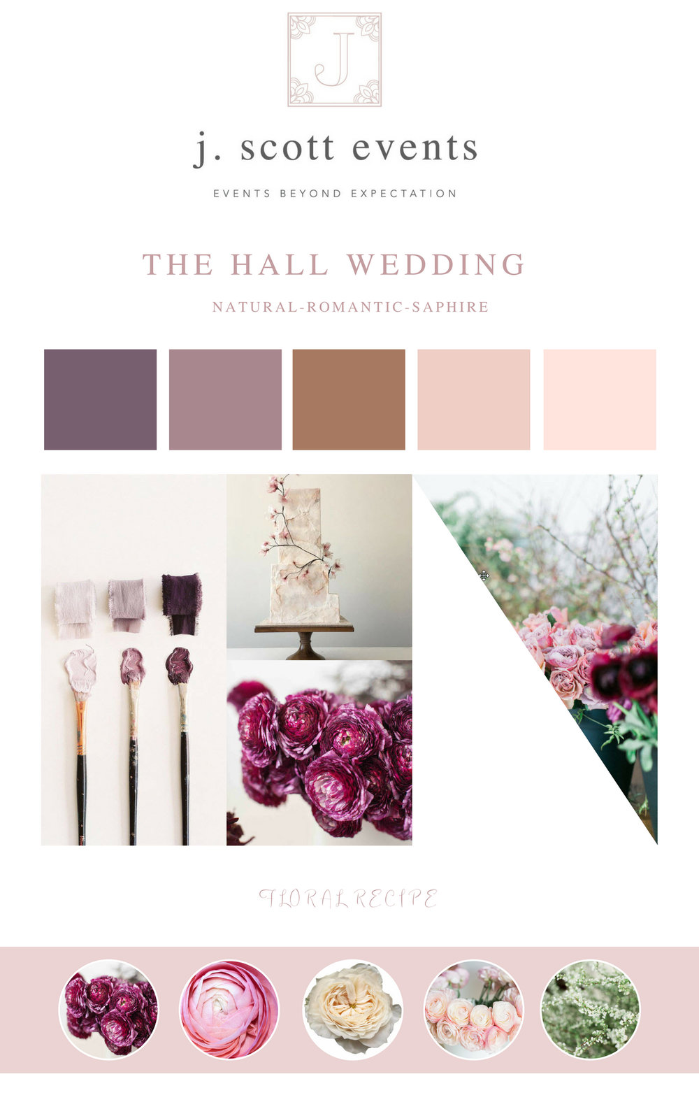 This is a sample of a mood board we created for a client to help inspire their colors, florals, and overall feeling to keep things cohesive on their BIG DAY!