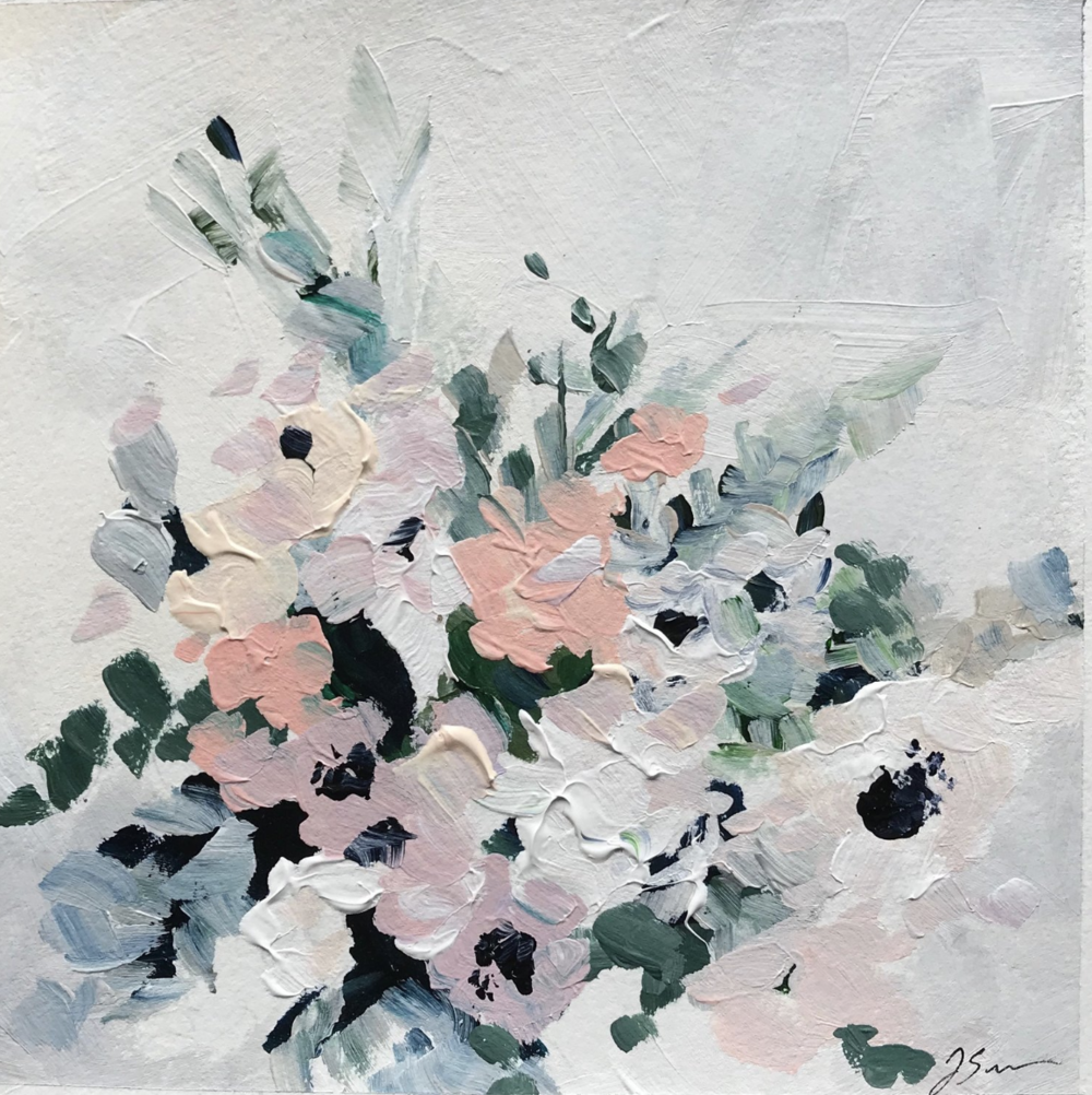 Painting by: Jennifer Seibert Studios of in house floral designs