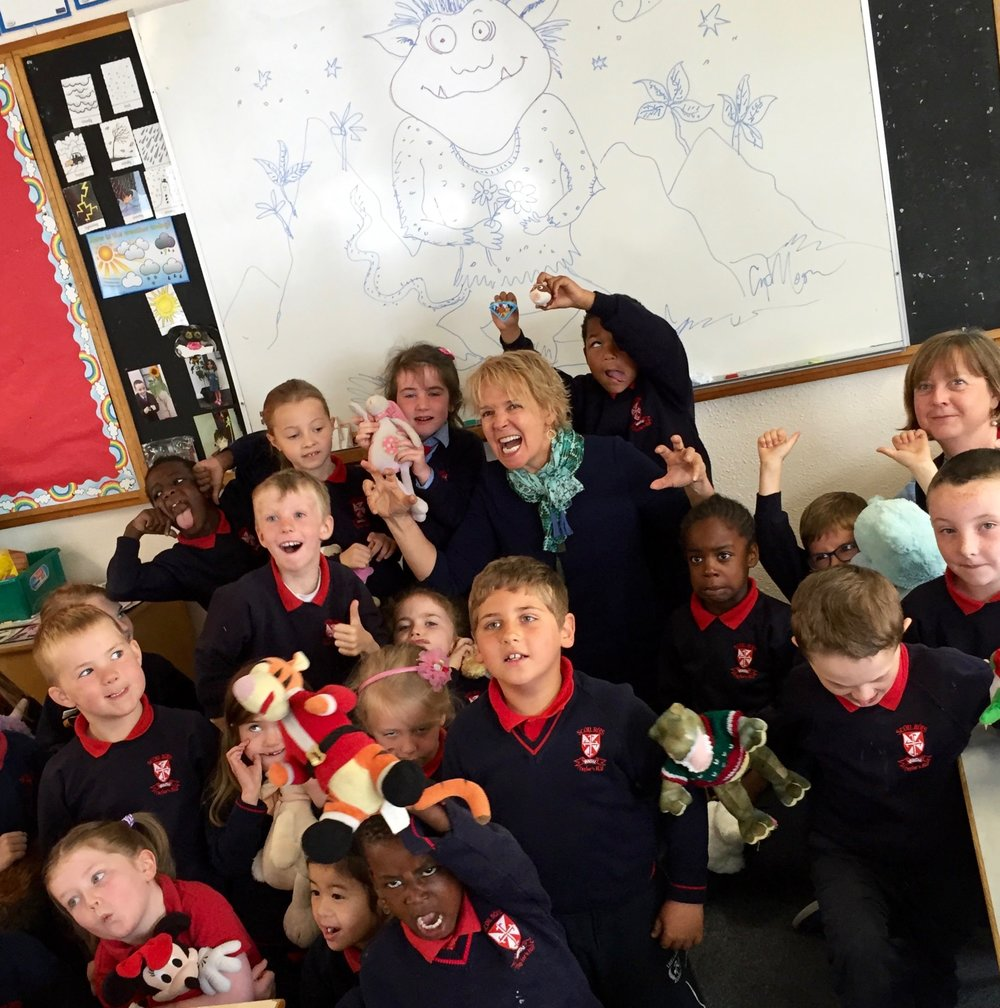 Drawing monsters and making monster faces with kindergarten students in Galway, Ireland!