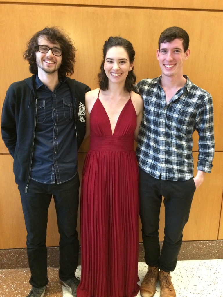 At Tufts University post-senior recital with musicians Jeff Saltzman and Conor Hearn (2017)
