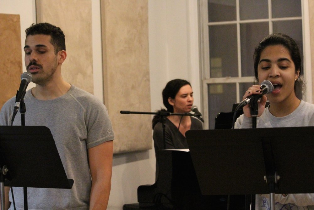 In rehearsal with Joel Perez & Mayelyn Perdomo for  The Songs of Simone Allen at Feinstein's/54 Below  (photo by Ed Rosini 2018)
