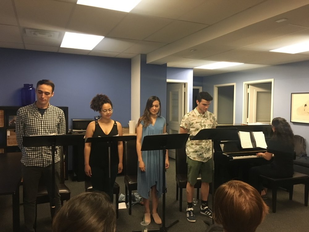 Presentation of original Clara Schumann musical at New York SongSpace with Jason Weisinger, Jordan Tyson, Emily Gardner Xu Hall, and Ed Rosini (photo by Meagan Cook 2018)