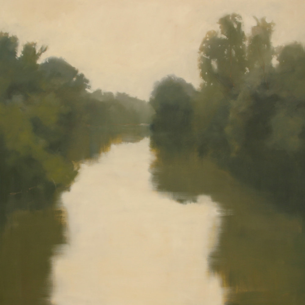 Quiet River Evening, 48x48 inches