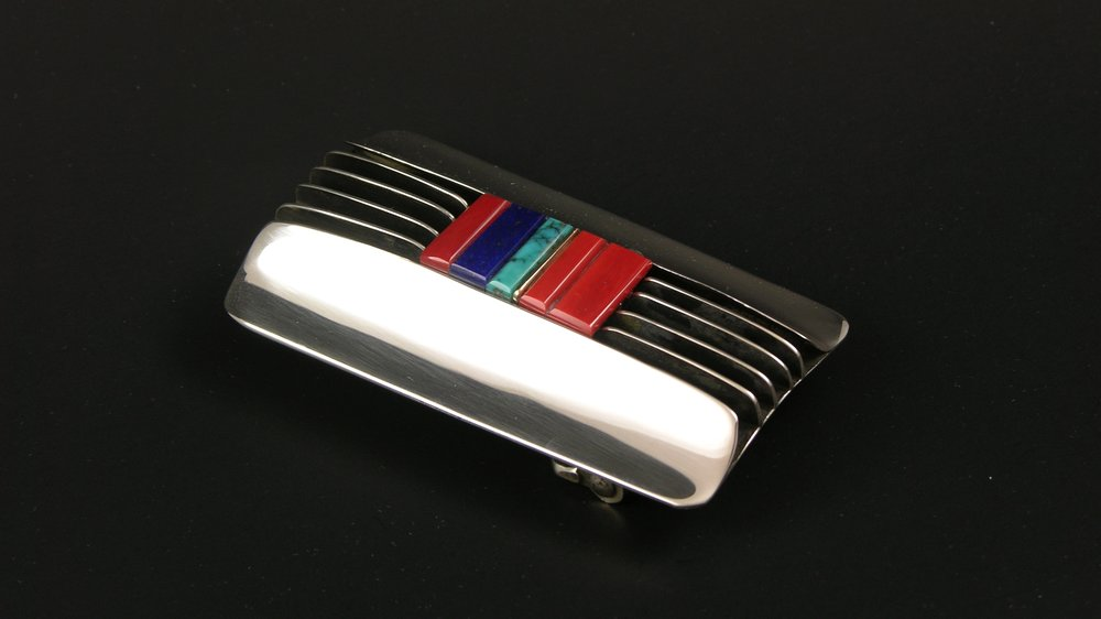 Beck Victor. Santa Fe Style Inlay Buckle.JPG