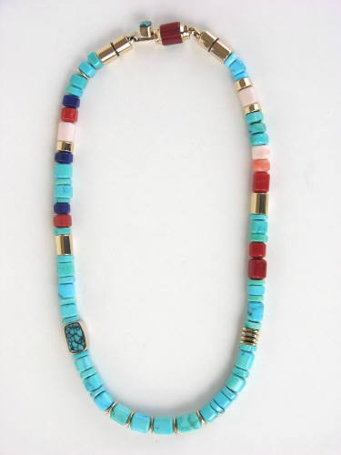 Hand-rolled Turquoise Necklace