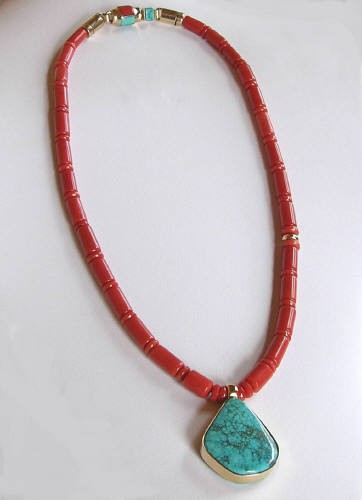 One Strand Gold Coral Necklace with Large Reversible Pendant