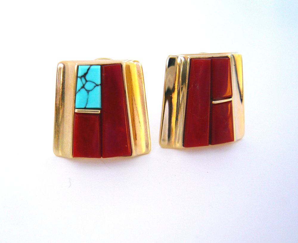 14K Gold Coral Earrings