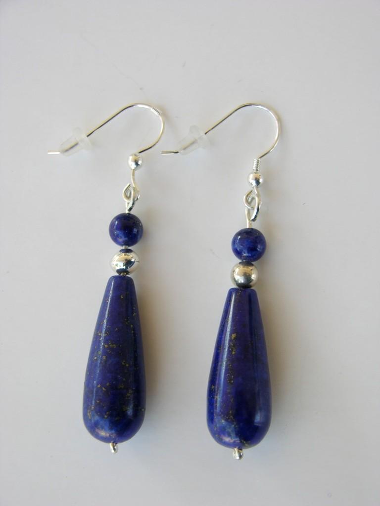 Lapis bead earrings