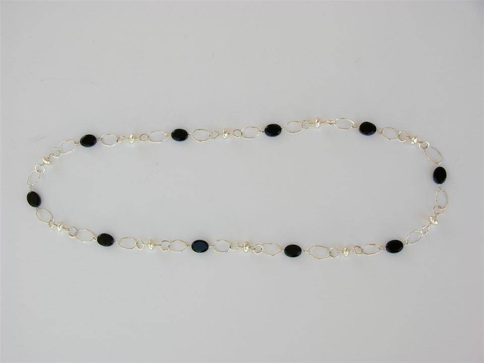 Silver Bead necklace with Oval Faceted Onyx