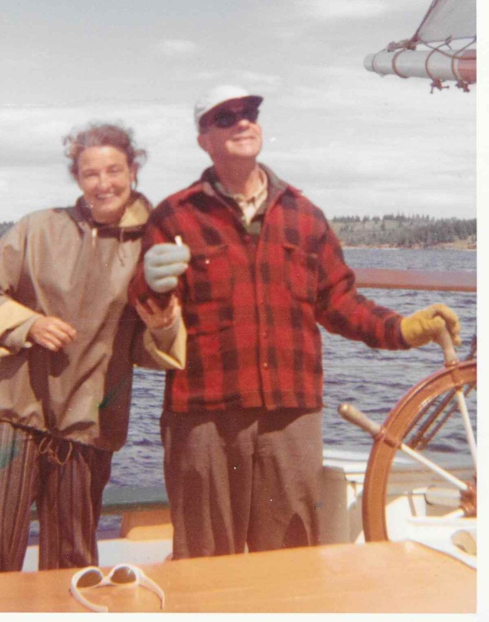 Leatha and Captain Cy aboard the STEPHEN TABOR on Blue Hill Bay, c. 1960s. Webber's Cove Boatyards. Blue Hill, Maine.