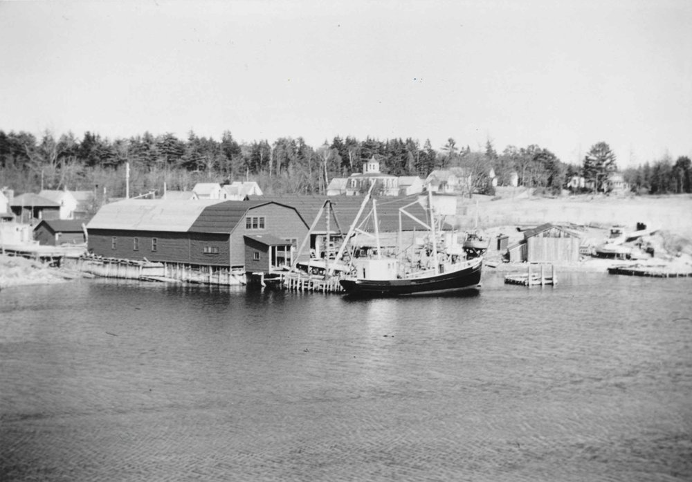 East Blue Hill yard, c. 1940s. Webber's Cove Boatyards. Blue Hill, Maine.