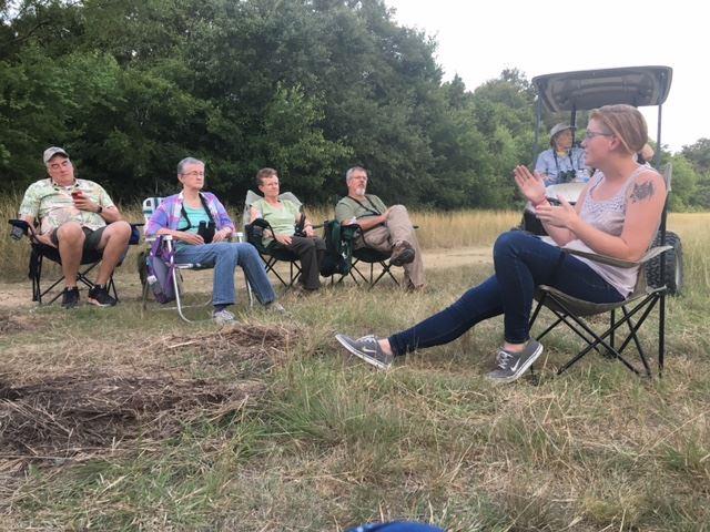 Sarah mid-bat talk, with SA Audubon Society at Warbler Woods.