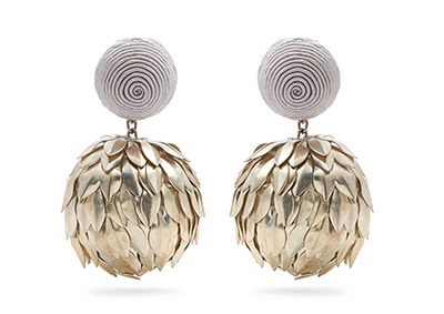 Meta Petal One-Ball Drop Earring   in silver