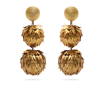 Metal Petal Two-Ball Drop Earring