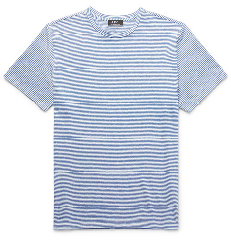 A.P.C. Striped Slub Stretch Linen And Cotton-Blend T-Shirt