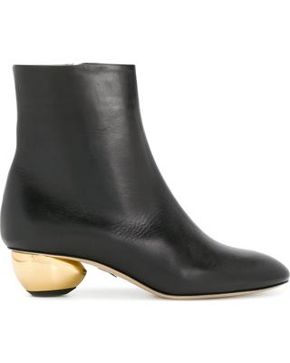 Paul Andrew Brancusi Leather Metallic-Heel Boots