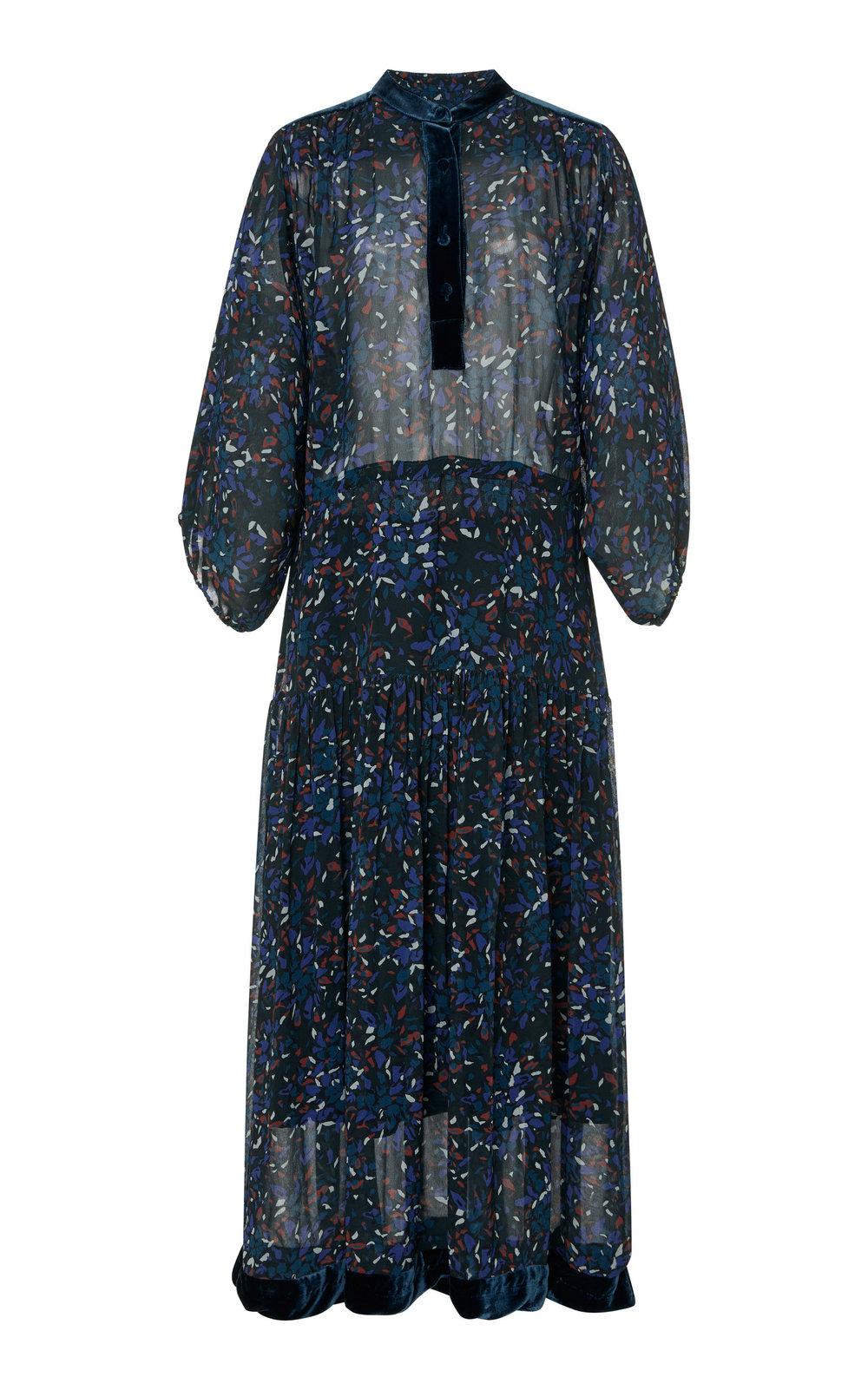 Primrose Velvet-Trimmed Printed Chiffon Maxi Dress – Warm