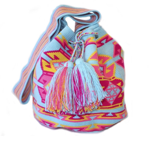 Turquoise, Pink & Yellow Cotton Cartagena Tassel Bag – Mochila