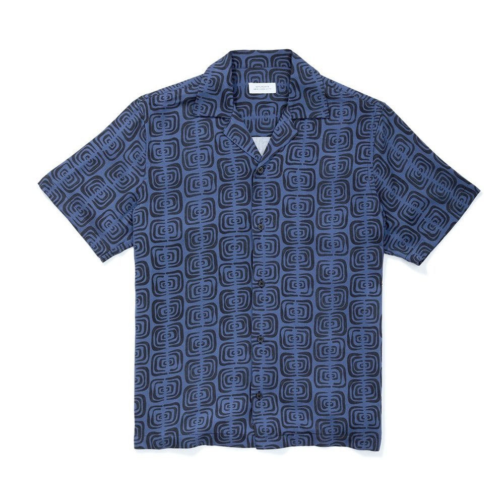 Saturdays Canty Kuba Cloth Short Sleeve Shirt Cobalt