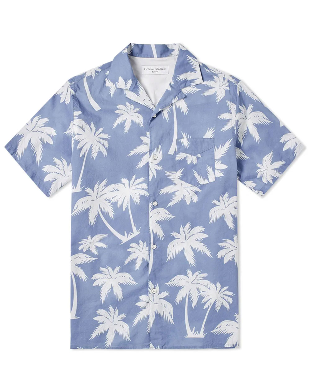 Officine Generale Dario Palm Print Short Sleeve Shirt
