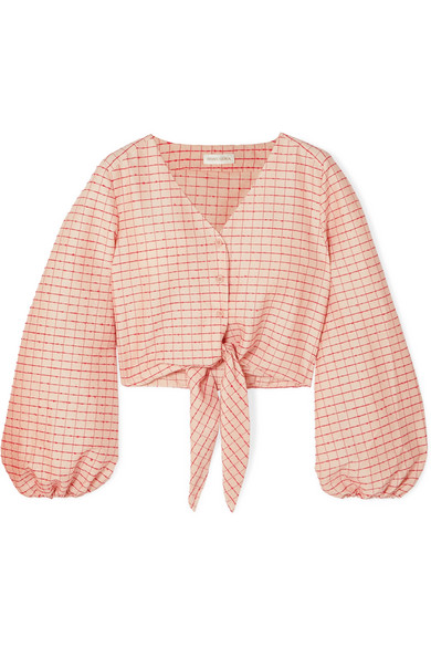 STINE GOYA Blanca tie-front embroidered checked cotton-blend blouse