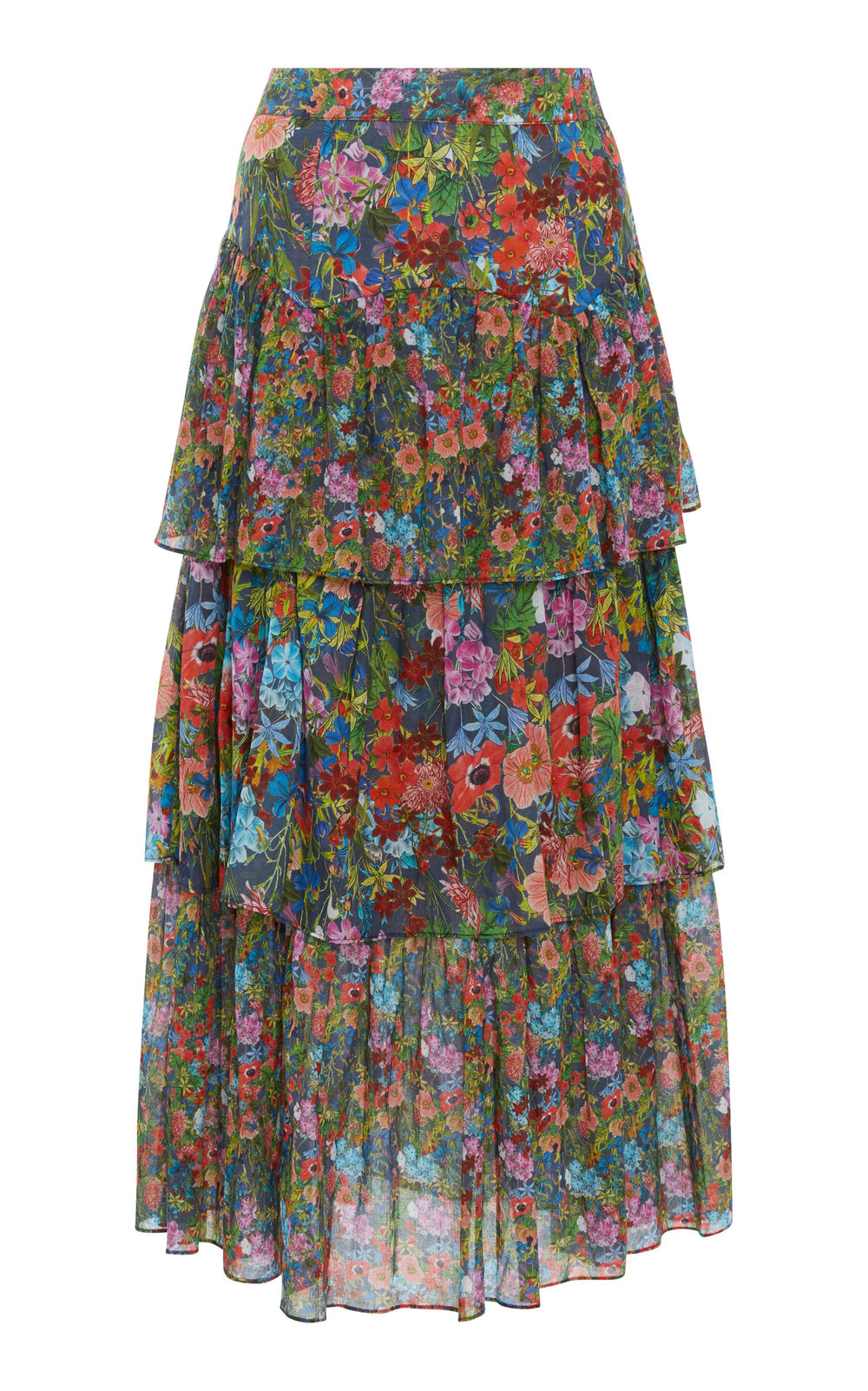 Warm Band Tiered Cotton Skirt ColorFloral