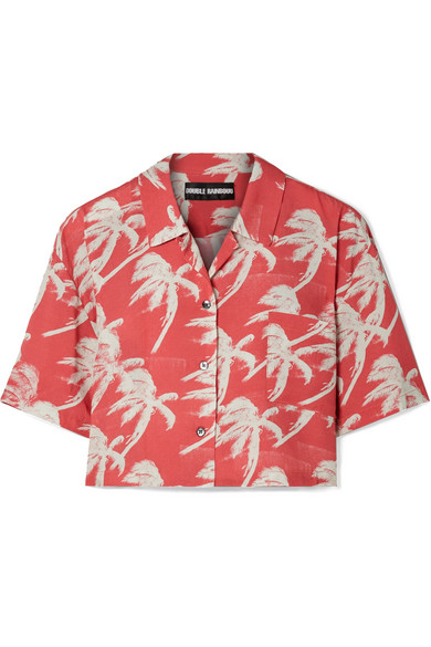 Double Rainbouu Cropped Printed Poplin Shirt
