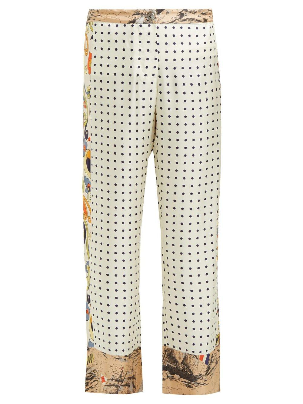 La Prestic Ouiston Riviera polka-dot silk trousers