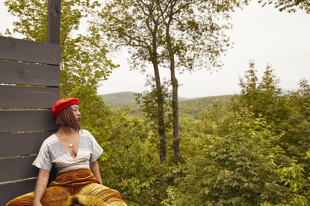 Catskills Mountains - Ethically produced wrap top - Casa Flor DesignsThrifted Beret - Buffalo ExchangeVelvet pants - Thrifted in the streets of Greenpoint, BrooklynNecklace - Jewel Posse