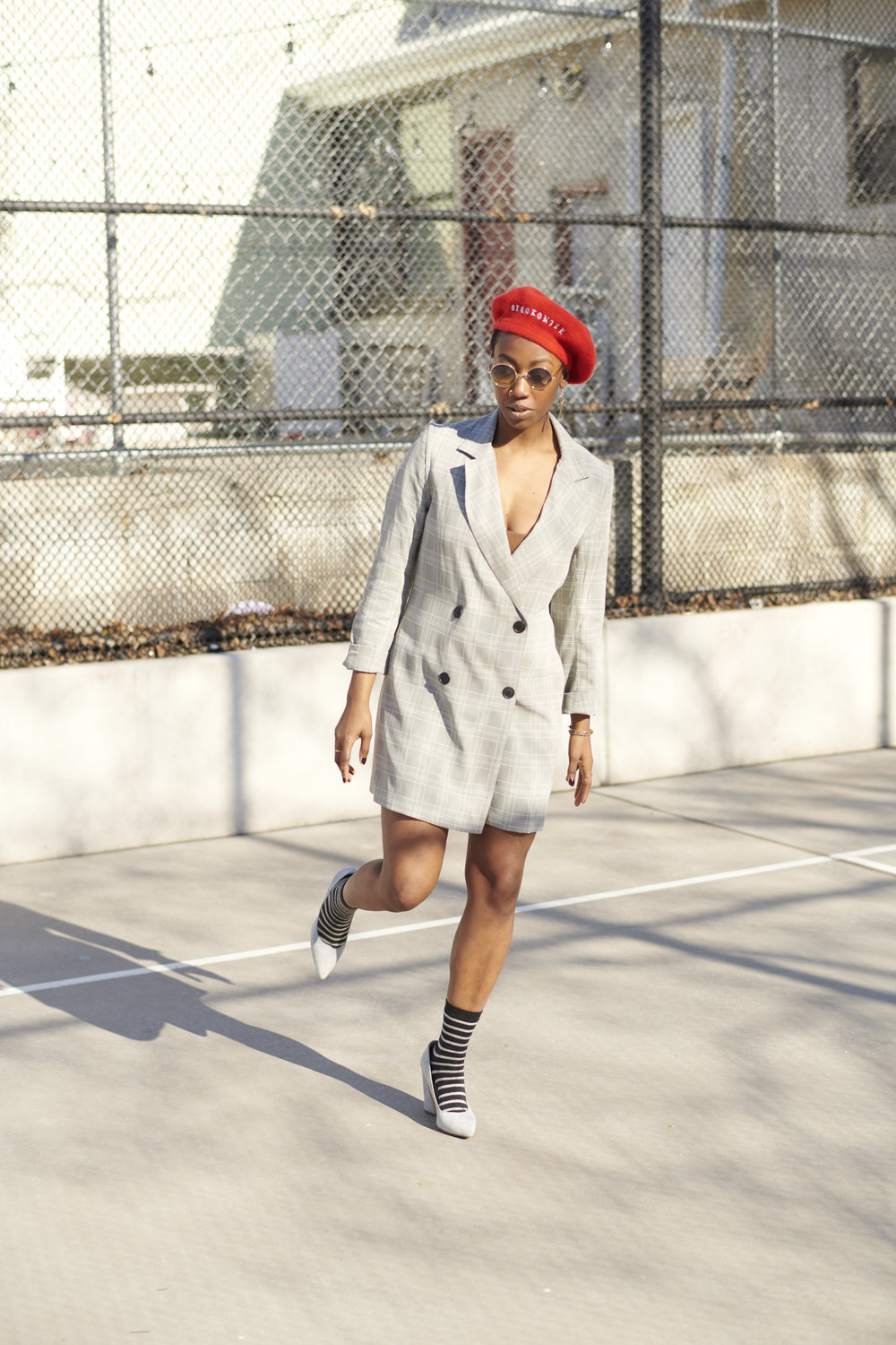 "Style meets Politics - Deadstock fabric blazer dress - VettaEthical ""Decolonize"" beret - Slow FactoryThrifted Heels - Out of the Closet (LA)"