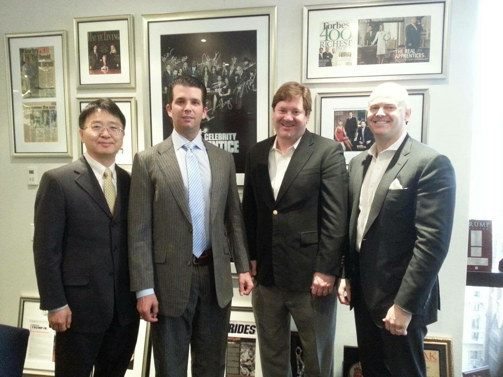 Chris Kim J.D., Donald Trump Jr., and Dr. Charles Richardson building healthcare innovation together.