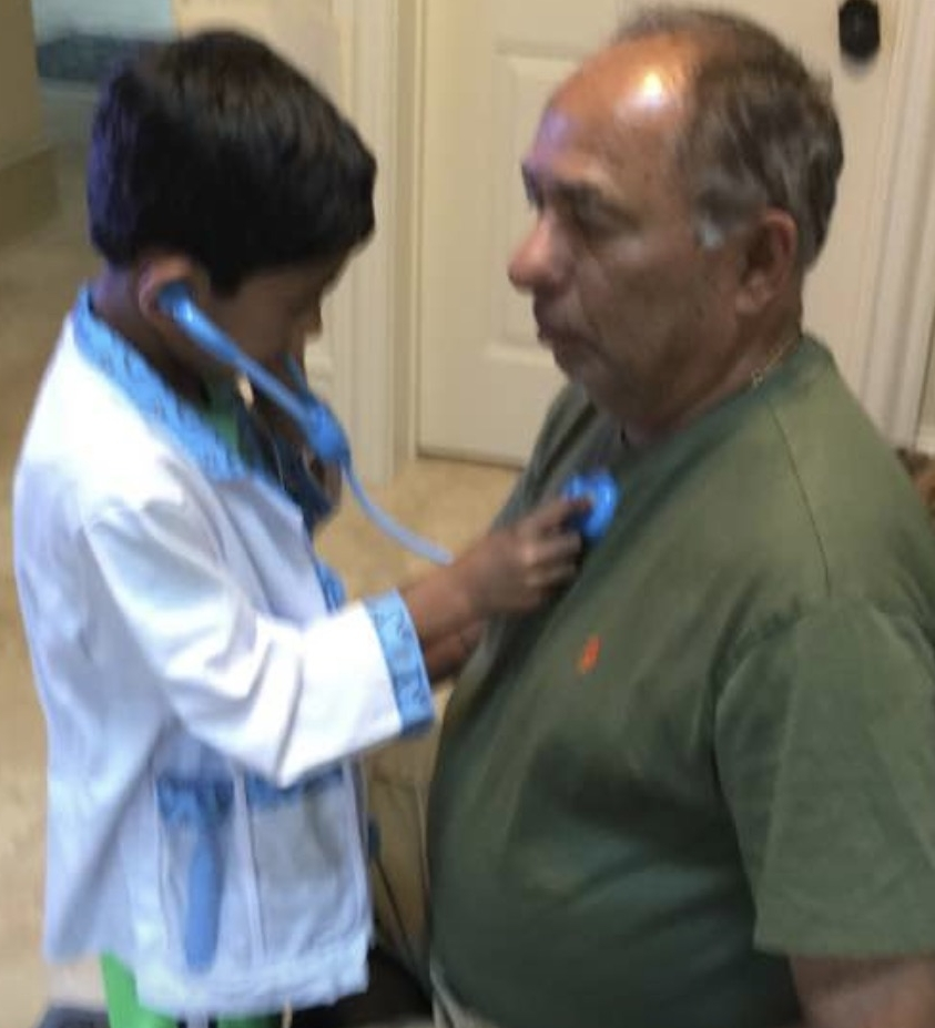 Dr. Innanje Rao with one of the third generation Cleveland Clinic Cardiology in training.