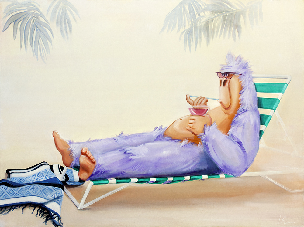 "Bellini's on the Beach, oil on panel 30x40"""