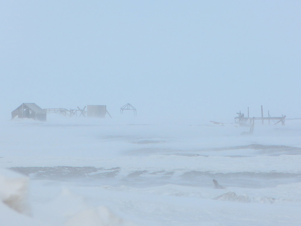 Classic blowing snow conditions near the Inupiaq village of Kaktovik, at 70 degrees north latitude on the Arctic Coast.