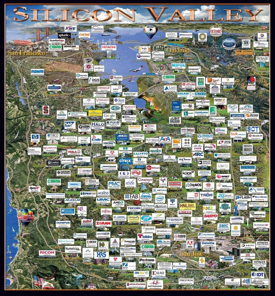 坐落於矽谷的高科技公司,這還不包含大大小小的新創公司