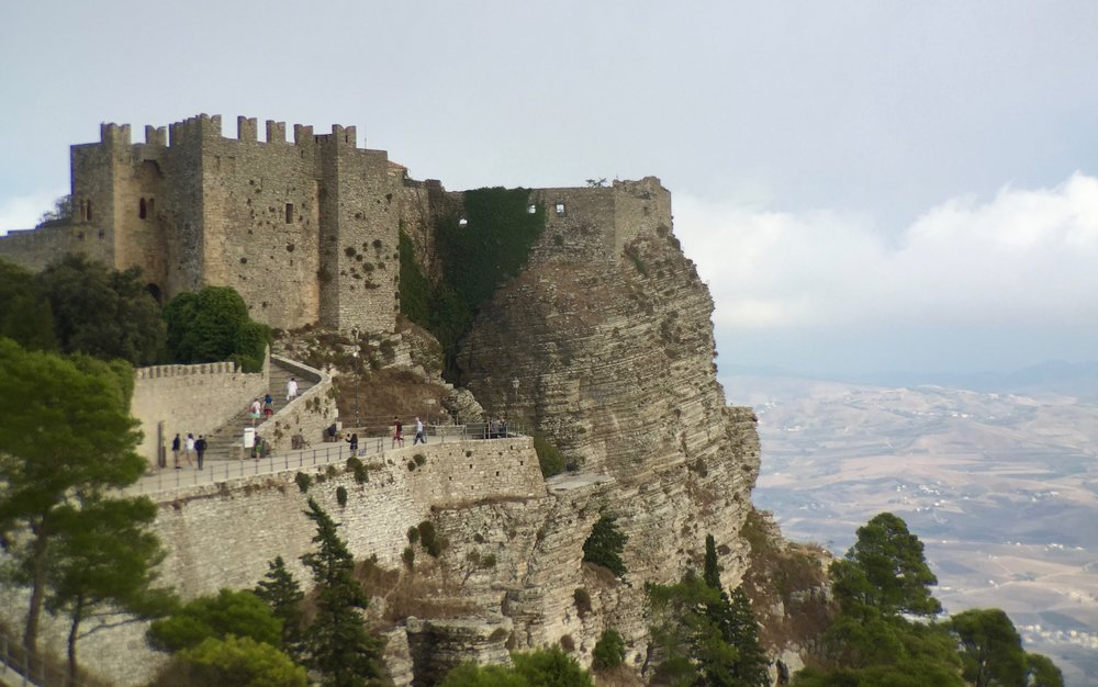 Erice castle and the cliff face down to Trapani