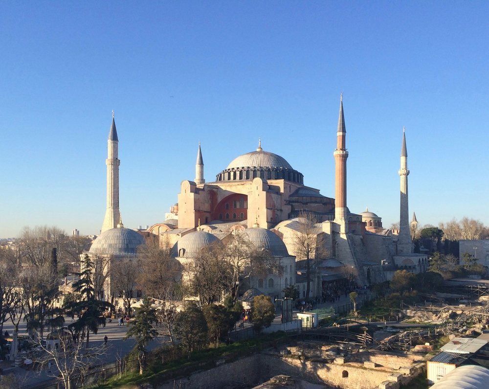 Justinian's Hagia Sophia - 537AD (minarets added later). We were hunting Byzantine mosaics here and in Chora.