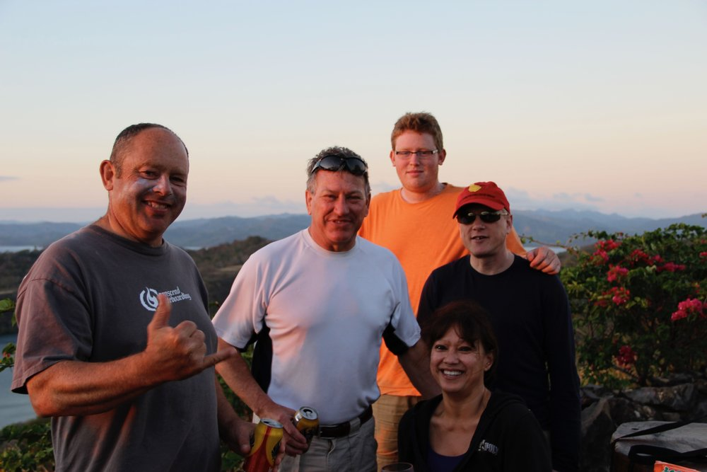 Bret still has zinc oxide on his face - he just made it for sunset this evening. Bret, Mike, Sebastian, Erric and Judy.