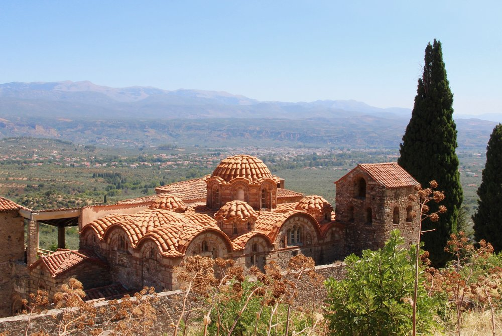 Mystras nestled in the hills above the Spartan plain