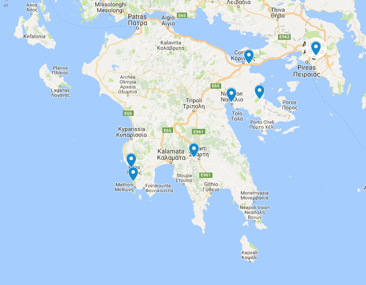 Stops on the Peloponnese